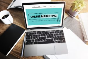 An open laptop showing someone is working on their online marketing campaign